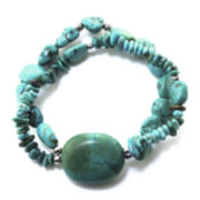 Genuine Turquoise Double-Row Stretch Bracelet