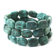 Genuine Turquoise Triple-Row Rectangle Stone Stretch Bracelet