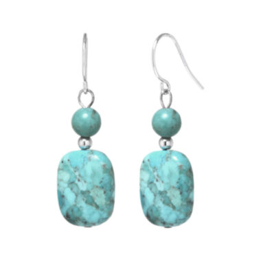 jcpenney.com | Enhanced Turquoise Rectangle Stone Drop Earrings