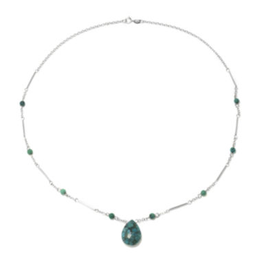 jcpenney.com | Enhanced Turquoise Teardrop on Sterling Silver Station Necklace