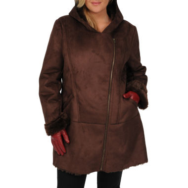 jcpenney.com | Excelled Faux-Shearling 3/4-Length Coat - Plus