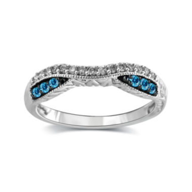 jcpenney.com | 1/4 CT. T.W. White and Color-Enhanced Blue Diamond 10K White Gold Wedding Band