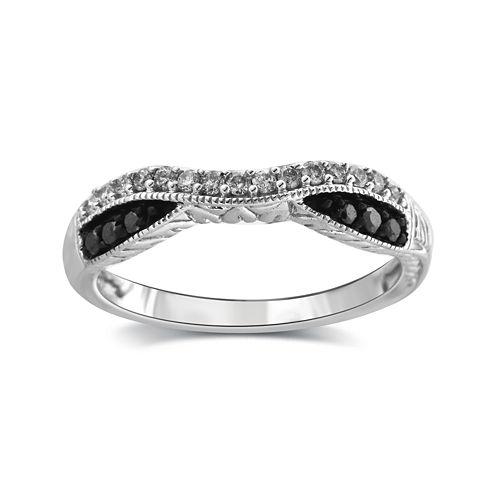 1/4 CT. T.W. White and Color-Enhanced Black Diamond 10K White Gold Wedding Band