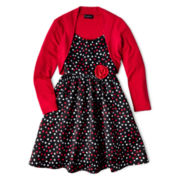 Disorderly Kids® 2-pc. Dot Dress and Cardigan - Girls 7-16 and Plus