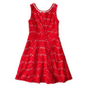 My Michelle® Red Lace Sequins Lace Dress - Girls 7-16