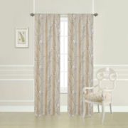 Laura Ashley® 2-Pack Taupe Pussy Willow Printed Rod-Pocket Curtain Panels