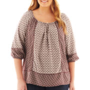 St. John's Bay® 3/4-Sleeve Twin Print Peasant Top - Plus