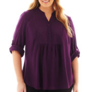 St. John's Bay® Long-Sleeve Eyelet Tunic - Plus