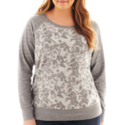 St. John's Bay® Long-Sleeve Lace Print Sweatshirt - Plus