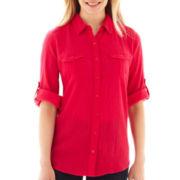 St. John's Bay® Button-Up Gauze Campshirt - Petite
