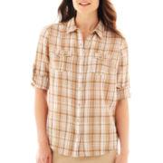 St. John's Bay® Button-Up Gauze Campshirt