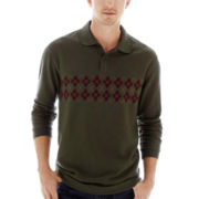 Haggar® Long-Sleeve Jacquard Polo
