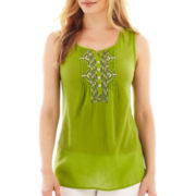 St. John's Bay® Sleeveless Embroidered Henley - Tall