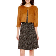 R&K Originals® 3/4-Sleeve Faux-Suede Jacket Dress