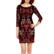 Tiana B. 3/4-Sleeve Medallion Print Shift Dress