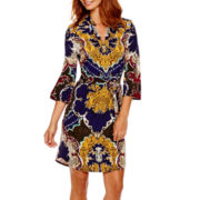 Trulli 3/4-Sleeve Print Shirtdress