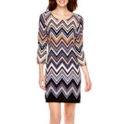 R&K Originals® 3/4-Sleeve Chevron Print Sheath Dress