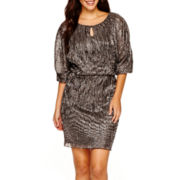 J. Taylor 3/4-Sleeve Blouson Dress