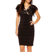 Melrose Flutter-Sleeve Sequin Shutter-Pleat Sheath Dress