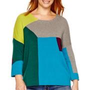 Stylus™ 3/4-Sleeve Colorblock Intarsia Sweater - Plus