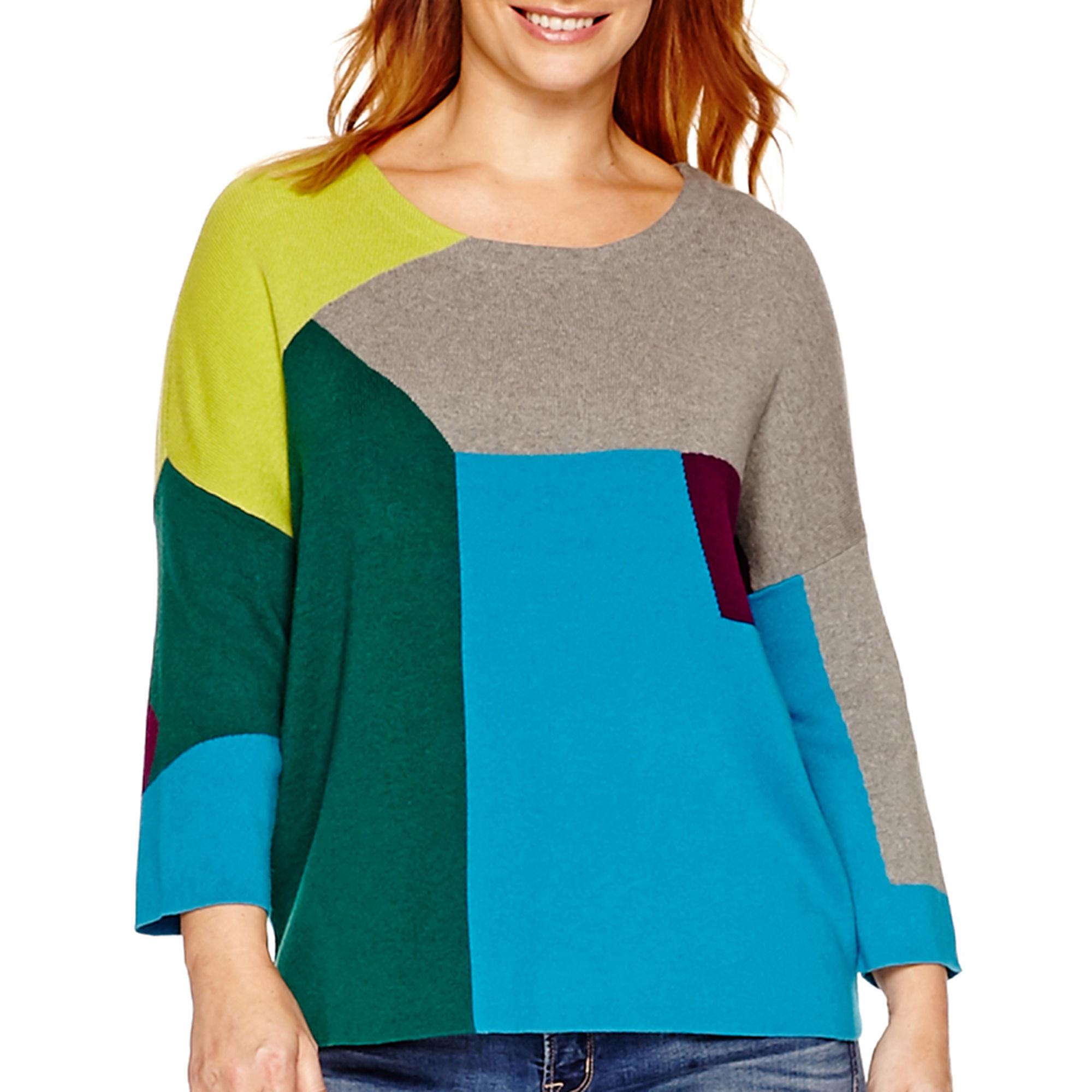 Stylus 3/4-Sleeve Colorblock Intarsia Sweater - Plus