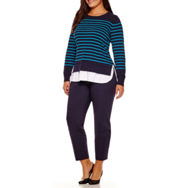 jcpenney.com | Stylus™ Layered Sweater or Crossover Ankle Pants - Plus