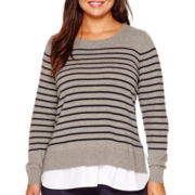 Stylus™ Long-Sleeve Layered Sweater - Plus