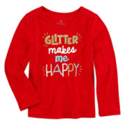 Okie Dokie® Long-Sleeve Glitter Tee - Toddler Girls 2t-5t