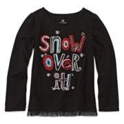 Okie Dokie® Long-Sleeve Tulle Tee - Preschool Girls 4-6x