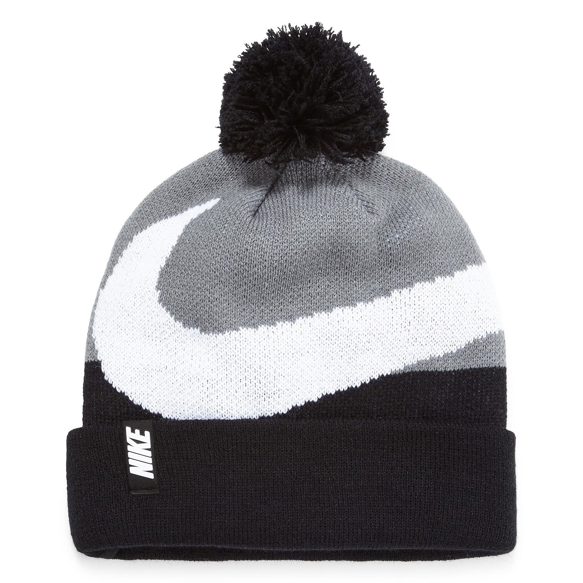 UPC 617845574933 product image for Boys Nike Swoosh Pom Pom Beanie Hat  Black/gray |