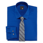 JF J. Ferrar® Dress Shirt And Tie Set - Slim Fit