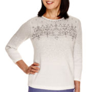 Alfred Dunner® Copenhagen 3/4-Sleeve Embroidered Yoke Sweater