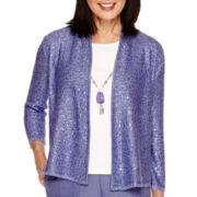 Alfred Dunner® Copenhagen 3/4-Sleeve Sequin Layered Sweater