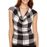 Worthington® Sleeveless Ruched Cowl-Neck Shirt - Petite