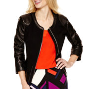 Worthington® Mixed Media Peplum Jacket - Tall