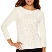 Worthington® 3/4-Sleeve Textured Pullover Sweater - Tall