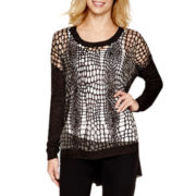 Worthington® Long-Sleeve Burnout Sweater