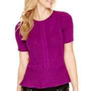 Worthington® Short-Sleeve Peplum Sweater - Tall