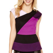 Worthington® Cap-Sleeve Colorblock Peplum Top - Tall