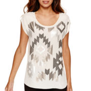 Worthington® Short-Sleeve Sequin Blouse