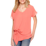 a.n.a® Short-Sleeve Knot Front Blouse