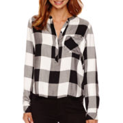 a.n.a® Long-Sleeve Plaid Mandarin Collar Blouse