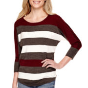 a.n.a® 3/4-Sleeve Striped Textured Sweater