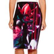 Bisou Bisou® Print Scuba Pencil Skirt - Plus