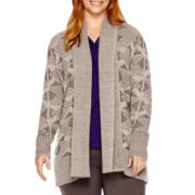 St. John's Bay® Long-Sleeve Aztec-Pattern Flyaway Cardigan - Plus