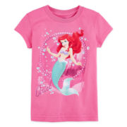 Disney Collection Ariel Graphic Glitter Tee - Girls 2-12