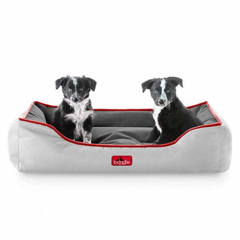 BRINDLE Waterproof Bolster Dog Bed with Reversible Color Design