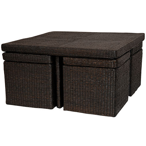 Oriental Furniture Rush Grass Coffee Table Set
