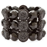 Jet Bead 3-Row Stretch Bracelet
