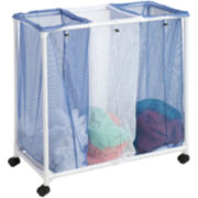 Honey-Can-Do® 3-Bag Mesh Rolling Hamper